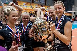02-10-2016 NED: Supercup VC Sneek - Eurosped, Doetinchem<br /> Eurosped wint de Supercup door Sneek met 3-0 te verslaan / Judith Kamphuis #3 of Eurosped, Rochelle Wopereis #12 of Eurosped