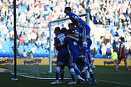 Cardiff city's Federico Macheda (14) celebrates with his team mates after he scores his teams 1st goal. Skybet football league championship match, Cardiff city v Charlton Athletic at the Cardiff city Stadium in Cardiff, South Wales on Saturday 7th March 2015.<br /> pic by Andrew Orchard, Andrew Orchard sports photography.