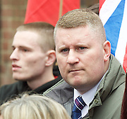 Far right activists protesting outside Regent's Park Mosque in Central London, Great Britain <br /> 3rd April 2015 <br /> <br /> <br /> Members of <br /> <br /> Britain First <br /> Paul Golding <br /> <br /> <br /> Photograph by Elliott Franks <br /> Image licensed to Elliott Franks Photography Services