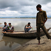 Men fish in the Ganges outside Kanpur, India. Aquatic life in the Ganges has been severly effected by the dumping of chemicals into the river by the tanning industry,  Alarming levels of Arsenic, Cadmium, Mercury, Nickel and Chrome(VI) have been found in the water bringing the sacred river close to its death.