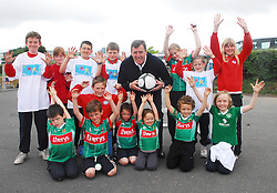 Packie Bonner was in Westport last week to help launch the Active Schools flag at Gaelscoil Na Cruaiche, here he is pictured with the schools sports committee...Pic Conor McKeown.