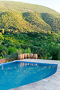 Swimming pool at Kasbah Africa, Azzaden Valley in the Ouirgane region, High Atlas Mountains, Morocco, 2013-10-17.