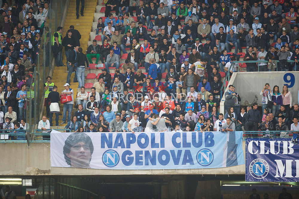 NAPELS, ITALY - Thursday, October 21, 2010: SSC Napoli supporters with a banner featuring their hero Diego Maradona before the UEFA Europa League Group K match against Liverpool at the Stadio San Paolo. (Pic by: David Rawcliffe/Propaganda)