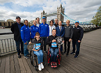 Manuela Schar SUI and Marcel Hug SUI winners of the Abbott World Marathon Majors Series XI with representatives of Abbott and the various races at a photocall and press conference at the Guoman Tower Hotel for the winners of the Virgin Money London Marathon, 23 April 2018.<br /> <br /> Photo: Thomas Lovelock for Virgin Money London Marathon<br /> <br /> For further information: media@londonmarathonevents.co.uk