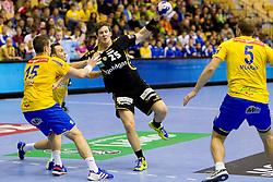 Runar Karason #25 of Rhein-Neckar Lowen during handball match between RK Celje Pivovarna Lasko (SLO) vs Rhein-Neckar Lowen (GER) in 3rd Round of Group A of EHF Champions League 2013/14 on October 12, 2013 in Arena Zlatorog, Celje, Slovenia. (Photo By Urban Urbanc / Sportida)