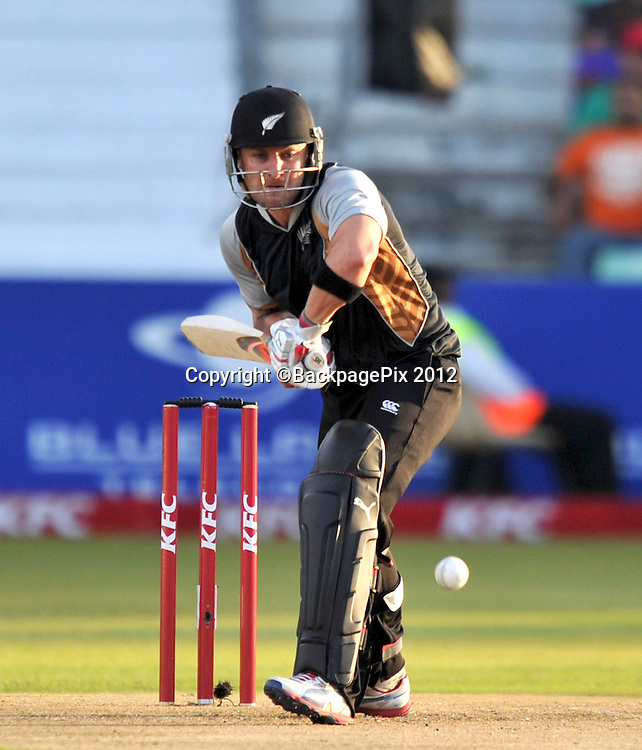 Brendon McCullum (c) of New Zealand  during the 2012 New Zealand Tour South Africa cricket International T20 match between South Africa and New Zealand at the Kingsmead Stadium  in Durban , December 21 , 2012<br />   <br /> <br /> &copy; Sabelo Mngoma/BackpagePix