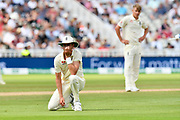Stuart Broad of England contemplates the difficult missed drop catch with Sam Curran of England looking on during second day of the Specsavers International Test Match 2018 match between England and India at Edgbaston, Birmingham, United Kingdom on 2 August 2018. Picture by Graham Hunt.