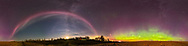 A 360&deg;&nbsp;panorama of the odd isolated auroral arc that has become known as &ldquo;Steve,&rdquo; here to the left as a pink and white band, across the south, with the main auroral oval to the north at right, with its more normal oxygen green arc and upper red and magenta tints, also from atomic oxygen. <br /> <br /> The Steve arc seems to be a thermal emission from hot flowing gas rather than from precipitating electrons. But his origin and nature is still mysterious. <br /> <br /> This night, September 27, 2017, the Steve arc appeared for only about 20 minutes, from 10:45 pm MDT pm, as the main display hit a lull inactivity. The display later grew to cover the sky with a post-sub-storm flickering display at the zenith and to the south. Steve is always well south of the main oval, and usually only when the main aurora is not very active. <br /> <br /> The 6-day Moon is just setting at the bottom of the summer Milky Way. The Pleiades is rising at far right. <br /> <br /> This is a 360&deg; panorama made of 6 segments, each with the Sigma 14mm f/1.8 lens at f/1.8 in portrait orienation, and at 60&deg; spacings. Each exposure was 10 seconds at f/1.8 and ISO 2500 with the Nikon D750. Shot from home on a mild September night.