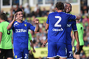 Leeds United's Luke Ayling(2) scores a goal 0-2 and celebrates during the Pre-Season Friendly match between Forest Green Rovers and Leeds United at the New Lawn, Forest Green, United Kingdom on 17 July 2018. Picture by Alan Franklin.