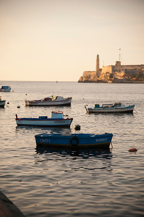 Castillo del Morro, Havana, Cuba. Advertising Photography Rick Etkin Photo, Rick Etkin Productions, Vancouver Photographer, , travel, Old port, Morro castle, Fishing boats, wooden boats, Malecón