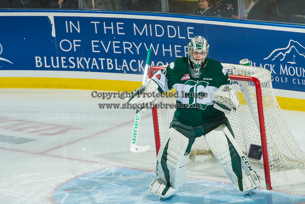 KELOWNA, CANADA - FEBRUARY 2: Carter Hart #70 of the Everett Silvertips defends the net against the Kelowna Rockets on FEBRUARY 2, 2018 at Prospera Place in Kelowna, British Columbia, Canada.  (Photo by Marissa Baecker/Shoot the Breeze)  *** Local Caption ***