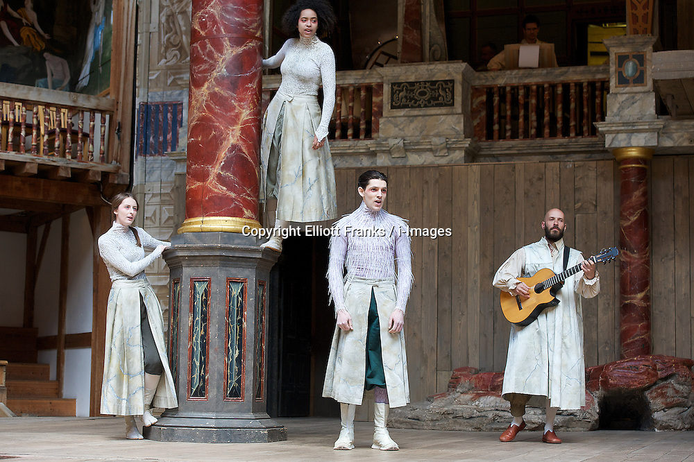 The Tempest By William Shakespeare, The Globe Theatre, London, Great Britain..Directed by Jeremy Herrin, designed by Max Jones, music by Stephen Warbeck..Colin Morgan.Ariel...Sarah Sweeney .Iris..Amanda Wilkin. Ceres , on April 26, 2013, on April 29, 2013. Photo by Elliott Franks / i-Images. .