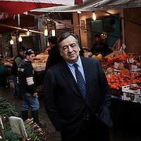 Palermo, Italy - 19 January 2013:  Mayor of Palermo Leoluca Orlando at the Capo Market in Palermo, Italy, on January 19th 2013.