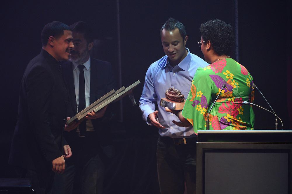 David Atai and Te Awanui Reeder, winners of the APRA Maioha Award at the APRA Silver Scrolls Awards 2012. Auckland Town Hall. 13 September 2012.