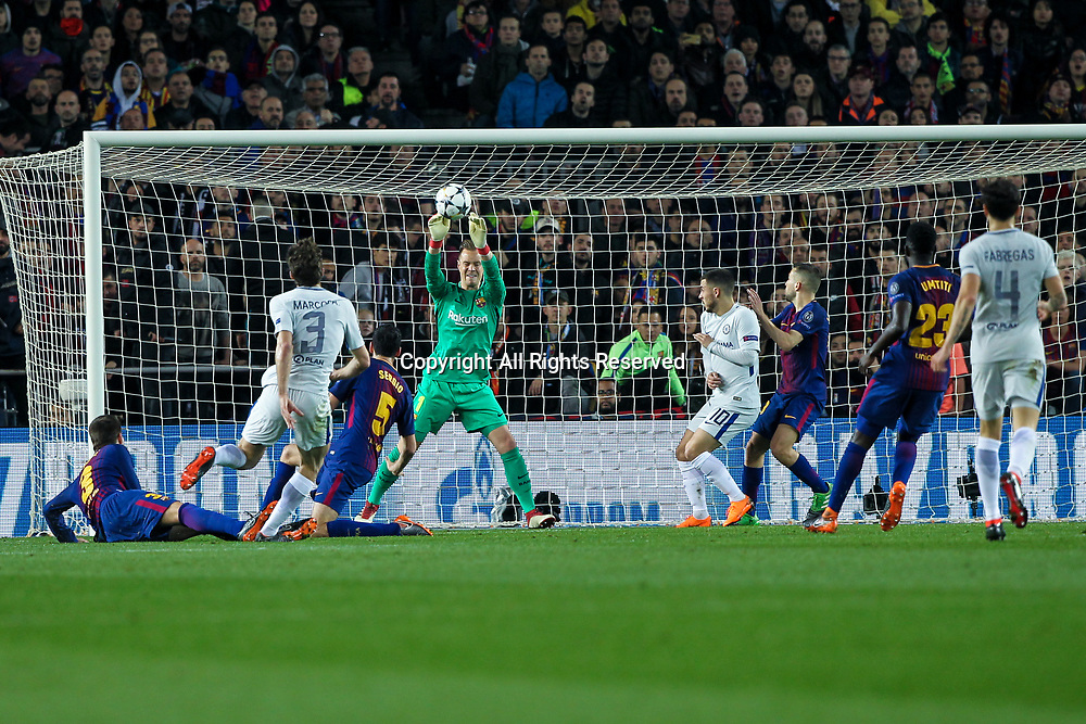 14th March 2018, Camp Nou, Barcelona, Spain; UEFA Champions League football, round of 16, 2nd leg, FC Barcelona versus Chelsea; Marc-Andre Ter Stegen, #1 of Barcelona saves a Chelsea shot