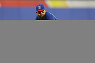 March 26, 2018 - Arlington, TX, U.S. - ARLINGTON, TX - MARCH 26: Texas Rangers second baseman Rougned Odor (12) waits between innings during the exhibition game between the Cincinnati Reds and Texas Rangers on March 26, 2018 at Globe Life Park in Arlington, TX. (Photo by Andrew Dieb/Icon Sportswire) (Credit Image: © Andrew Dieb/Icon SMI via ZUMA Press)