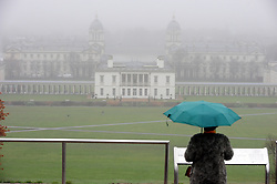 © Licensed to London News Pictures.20/12/2017.<br /> GREENWICH, UK.<br /> The Queen's House.<br /> Misty wet and cold weather Greenwich Park, Greenwich.<br /> Photo credit: Grant Falvey/LNP