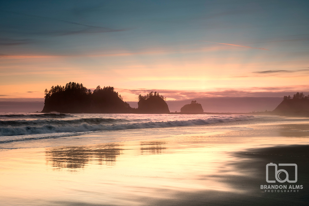 Sunset at First Beach in La Push Washington Olympic National Park. Photo by Brandon Alms Photography