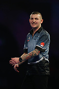 Nathan Aspinall rues missing a double during the World Darts Championships 2018 at Alexandra Palace, London, United Kingdom on 29 December 2018.