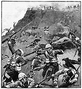 Battle of Majuba Hill, 27 February 1881, lst Boer War. British under General Colley, routed by the Boers.  92nd Gordon Highlands in retreat. Engraving