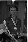 1983-15-08.15th August 1983.15-08-1983.08-15-83..Photographed at Dublin Airport..The Midas Touch:..Gold medalist Eamonn Coughlan relaxing with a drink and displaying his gold medal at the VIP lounge in Dublin Airport  on his return from the World Athletics Champonships