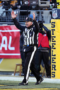 An NFL official raises his arms and signals that the kick is good on a successful 45 yard field goal that gives the Jacksonville Jaguars a ten point 45-35 lead late in the fourth quarter during the NFL 2018 AFC Divisional playoff football game against the Pittsburgh Steelers, Sunday, Jan. 14, 2018 in Pittsburgh. The Jaguars won the game 45-42. (©Paul Anthony Spinelli)