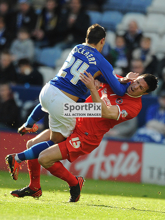 LEICESTERS ANTHONY KNOCKAERT TACKLES WITH CHARLTONS RICHARD WOOD, Leicester City v Charlrlton Athletic, Sky Bet Champ, Saturday 1st March 2014
