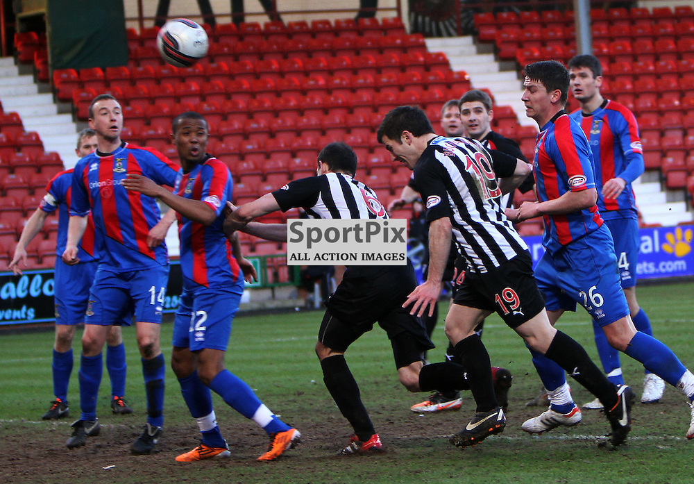The Clydesdale Bank Scottish Premier League, Season 2011/12.Dunfermline Athletic Football Club v Inverness CT Football Club .18-02-12...Liam Buchanan misses a late header in this evenings  Clydesdale Bank Scottish Premier League game between Dunfermline Athletic FC and Inverness CT FC..At East End Park Stadium, Dunfermline...Picture, Craig Brown ..Saturday 18th February 2012.