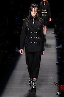 Fei Fei Sun (WOMEN) walks the runway wearing Alexander Wang Fall 2015 during Mercedes-Benz Fashion Week in New York on February 14, 2015
