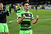 Forest Green Rovers Liam Shephard(2) at the end of the match during the EFL Sky Bet League 2 match between Cambridge United and Forest Green Rovers at the Cambs Glass Stadium, Cambridge, England on 2 October 2018.