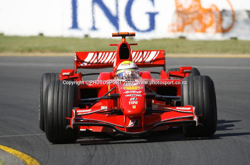 Felipe Massa in action for Ferrari during the Australian Formula 1 Grand Prix at Melbourne, Australia on Sunday 18 March 2007. Photo: Panoramic/PHOTOSPORT #NO AGENTS#<br /> <br /> <br /> 180307 *** Local Caption ***