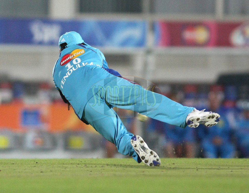 EAST LONDON, SOUTH AFRICA - 8 May 2009. Sachin Tendulkar dives to field the ball during the  IPL Season 2 match between the Delhi Daredevils and the Mumbai Indians held at Buffalo Park in East London. South Africa..