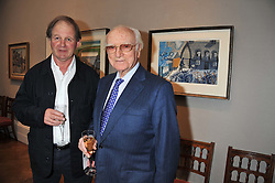 Left to right, author MICHAEL MORPURGO writer of War Horse and SIR PETER O'SULLEVAN at a reception to unveil the Limited Centenary Edition of Sir George Frampton's statuette of Peter Pan in aid of the Moat Brae Charity held at The Fine Art Society, 148 New Bond Street, London on 1st May 2012.