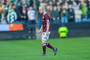 Steven Naismith (#14) of Heart of Midlothian goes off injured during the Betfred League Cup semi-final match between Heart of Midlothian FC and Celtic FC at the BT Murrayfield Stadium, Edinburgh, Scotland on 28 October 2018.