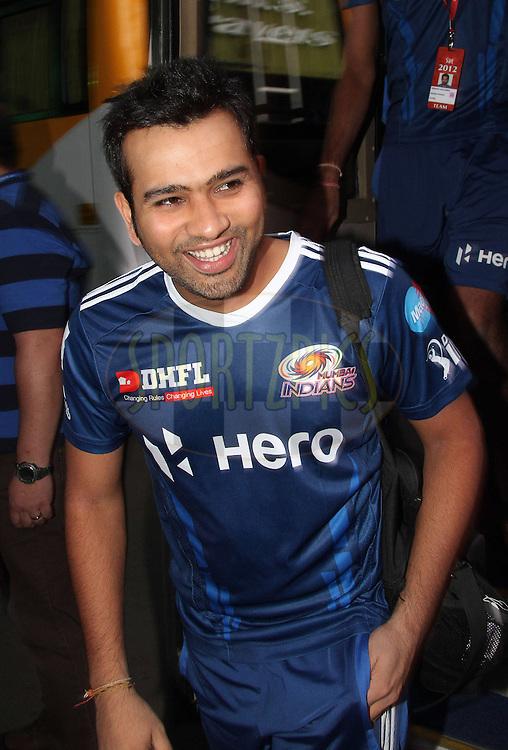 Rohit Sharma of the Mumbai Indians arrives at the ground during The IPL 2012, Season 5, eliminator match between The Mumbai Indians and The Chennai Superkings held at the M. Chinnaswamy Stadium, Bengaluru on the 23rd May 2012..Photo by Shaun Roy/IPL/SPORTZPICS