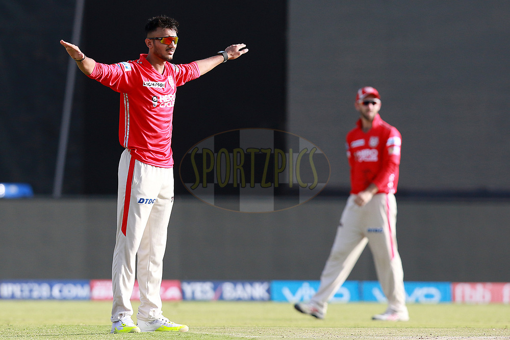 Axar Patel of KXIP  during match 26 of the Vivo 2017 Indian Premier League between the Gujarat Lions and the Kings XI Punjab held at the Saurashtra Cricket Association Stadium in Rajkot, India on the 23rd April 2017<br /> <br /> Photo by Rahul Gulati - Sportzpics - IPL