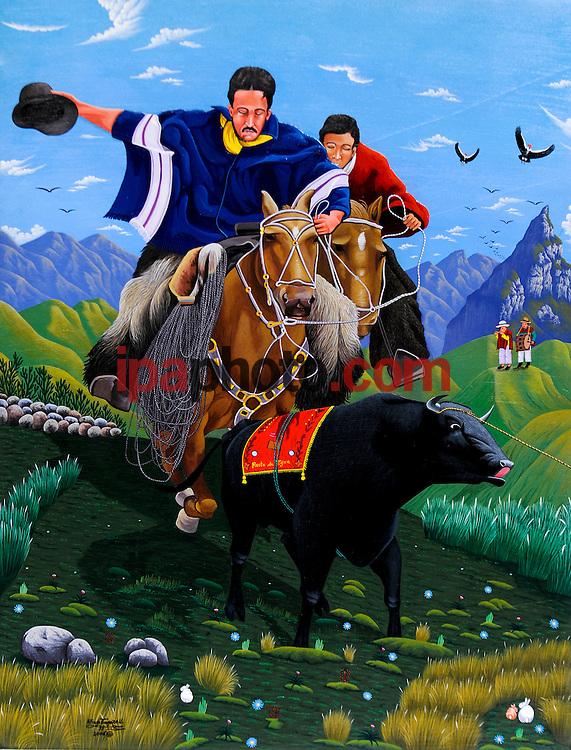 """QUILOTOA-VOLCAN- ECUADOR MAR/12/2009.Las pinturas Naif de Joaquín Toaquiza, pintor indígena de la población quichua de Tigua, es uno de los atractivos para los visitantes del Volcán Laguna Quilotoa (3.900 m), localizado en la Provincia de Cotopaxi, Parroquia de Zumbahua, forma parte de la Reserva Ecológica Los Iliniza. Su nombre proviene de dos vocablos quichuas """"Quiru"""" que quiere decir diente y """"Toa"""" que significa reina debido a la forma de la laguna, pues ésta tiene forma casi elíptica de aproximadamente 3.15 kilómetros de diámetro y una diferencia de 440 metros entre el nivel del agua y el borde superior. El borde del cráter remata en el lado suroeste con la cumbre Huyan tic o Puerta Zhalaló que tiene 4.010 m. El agua de la laguna posee un color verde esmeralda y varÌa de acuerdo a la temporada, con verde azulado o casi amarillo mostrando un cuadro imponente de acuerdo a la sombra y a la luz. Su profundidad promedio es de 240 metros. El entorno de este volcán es el páramo de Zumbahua importante reservorio de agua para la capital, ecuatoriana Quito y donde se asientan varias comunidades indígenas quichuas, que se dedican fundamentalmente al pastoreo de ganado. Una de las más conocidas es la de Tigua por los cuadros estilo Naif realizados sobre piel de oveja. (Photo by IPAPHOTO.COM)."""