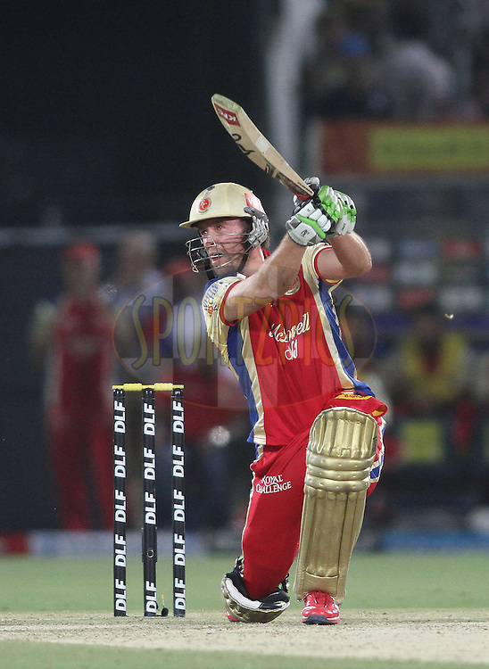 AB de Villiers of the Royal Challengers Bangalore hits over the top during match 30 of the the Indian Premier League (IPL) 2012  between The Rajasthan Royals and the Royal Challengers Bangalore held at the Sawai Mansingh Stadium in Jaipur on the 23rd April 2012..Photo by Shaun Roy/IPL/SPORTZPICS