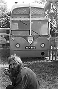Hank posing infront of Reubens Bus, Glastonbury, 1993.