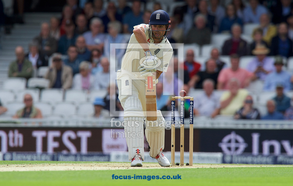 Alastair Cook of England comes close to being bowled out during the 100th Investec Test Match match at the Kia Oval, London<br /> Picture by Alan Stanford/Focus Images Ltd +44 7915 056117<br /> 28/07/2017