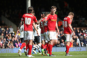 Nottingham Forest midfielder Henri Lansbury (10) celebrating scoring penalty to make it 0-2 during the Sky Bet Championship match between Fulham and Nottingham Forest at Craven Cottage, London, England on 23 April 2016. Photo by Matthew Redman.