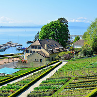 Terraced Garden, Harbor, and Lake Geneva in Nyon, Switzerland<br />
