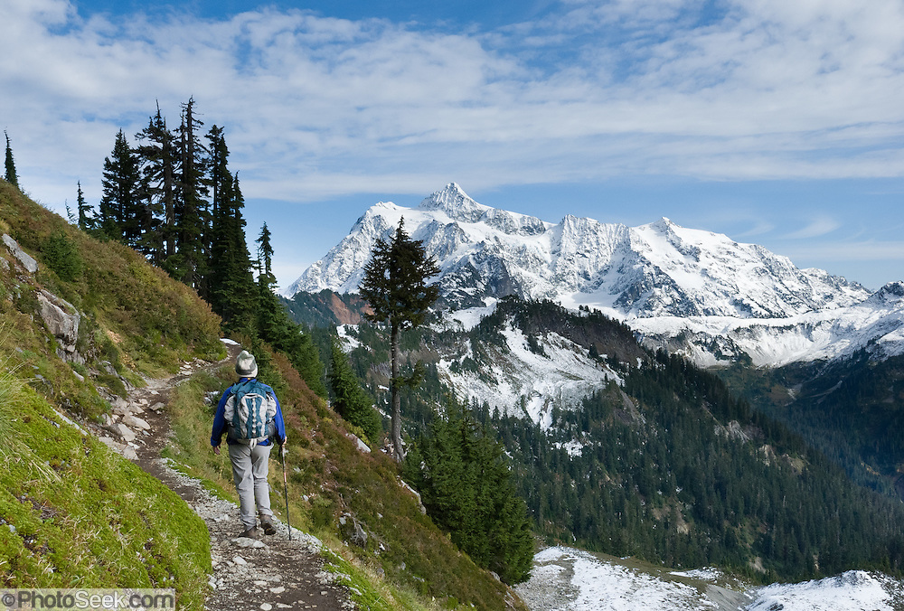 From the Chain Lakes Loop trail, in Mount Baker Wilderness, a day hiker walks towards Mount Shuksan (9127 feet elevation), located in North Cascades National Park, Washington, USA.