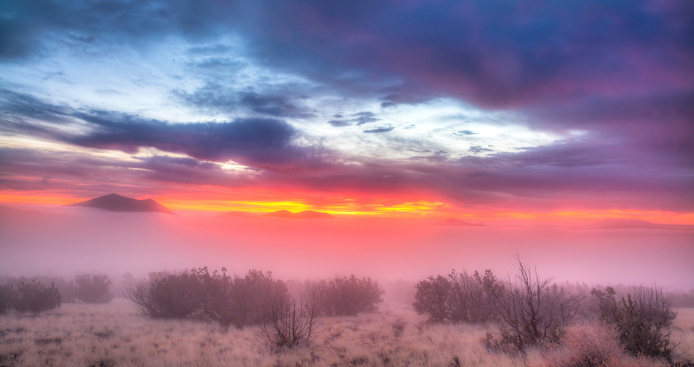 I took this photo from my home in winter, when morning mist was rising from the desert at sunrise