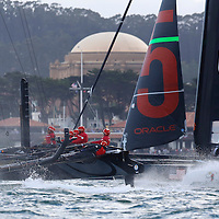 Action from the Races at the America's Cup World Series in San Francisco. Mandatory Credit: Dinno Kovic