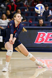 October 7, 2018 - Tucson, AZ, U.S. - TUCSON, AZ - OCTOBER 07: Arizona Wildcats libero / defensive specialist Makenna Martin (22) hits the ball during a college volleyball game between the Arizona Wildcats and the Washington State Cougars on October 07, 2018, at McKale Center in Tucson, AZ. Washington State defeated Arizona 3-2. (Photo by Jacob Snow/Icon Sportswire) (Credit Image: © Jacob Snow/Icon SMI via ZUMA Press)