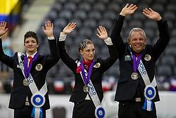 LINDNER Jasmin (AUT), WACHA Lukas (AUT), HAIDACHER Klaus (Longenführer)<br /> Tryon - FEI World Equestrian Games™ 2018<br /> Siegerehrung / Medaillenvergabe<br /> Voltigieren Kür/Freestyle Pas de Deux Finale<br /> 20. September 2018<br /> © www.sportfotos-lafrentz.de/Stefan Lafrentz