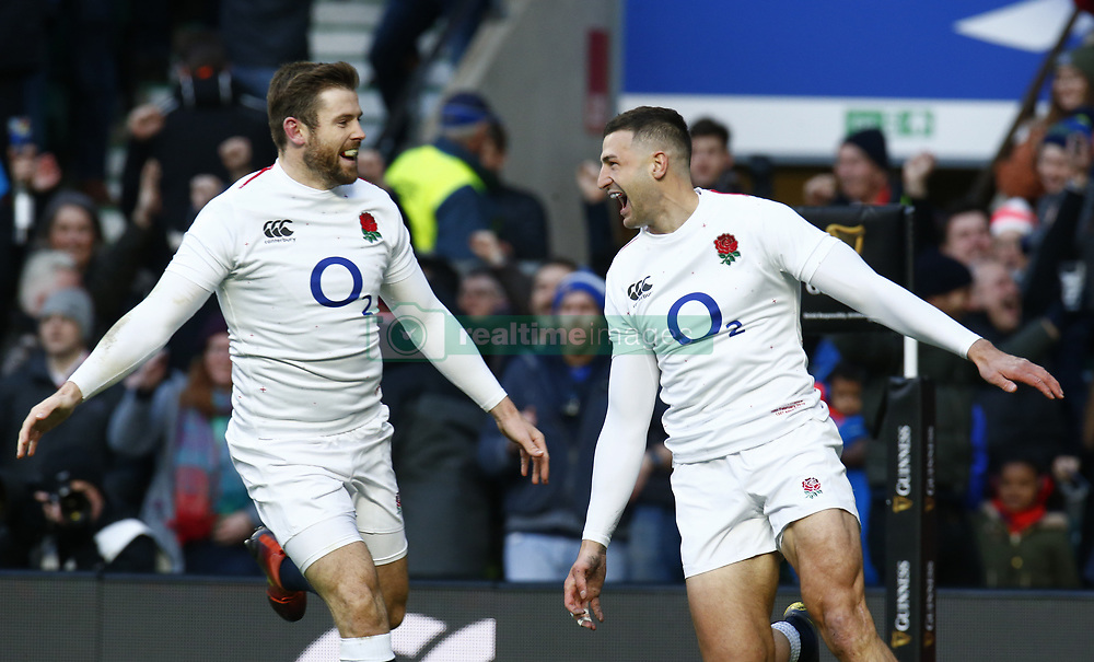 February 10, 2019 - London, England, United Kingdom - Jonny May of England celebrate his Try..during the Guiness 6 Nations Rugby match between England and France at Twickenham  Stadium on February 10th, 2019 in Twickenham, London,  England. (Credit Image: © Action Foto Sport/NurPhoto via ZUMA Press)