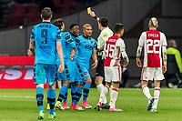 AMSTERDAM - 05-04-2017, Ajax - AZ, Stadion Arena, scheidsrechter Dennis Higler geeft de gele kaart aan AZ speler Ridgeciano Haps