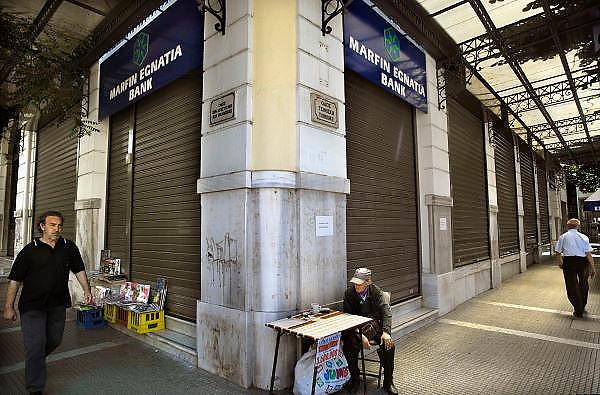 Griekenland, Thessaloniki, 11-6-2011Banken in deze tweede stad van het land. Marfin Egnatia bank.Foto; Flip Franssen